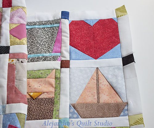 colcha de parches con patrones paper piecing
