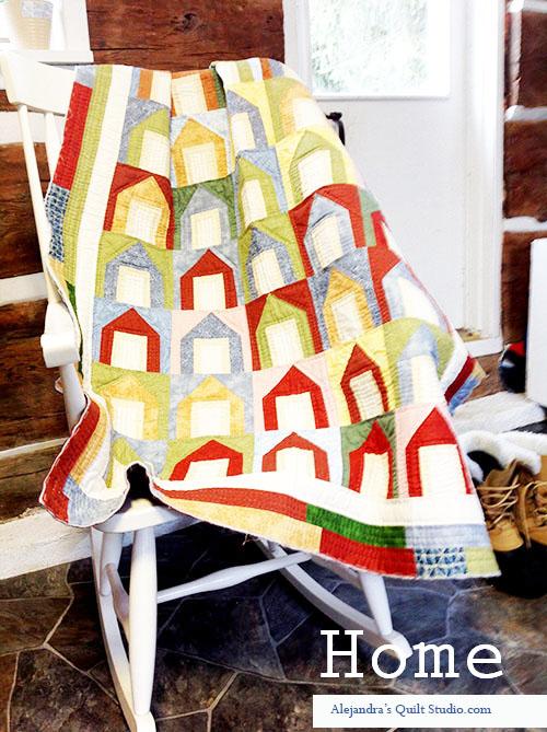 Quilt colcha de patchwork casas