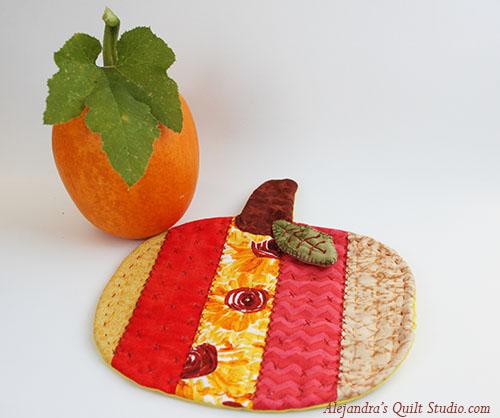 Mini quilt de calabaza, patrón gratis