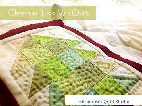 Christmas tree mini quilt tutorial
