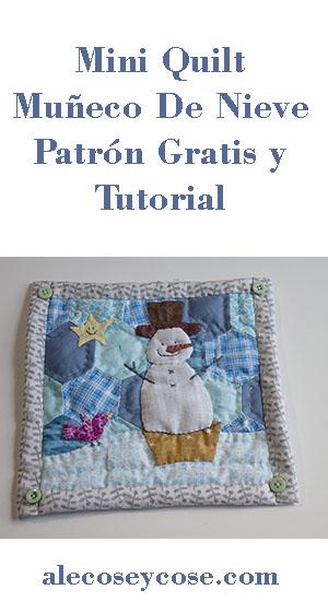 como hacer mini quilt muñeco de nieve