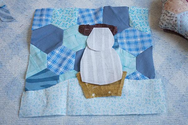 Mini Quilt Con Muñeco De Nieve