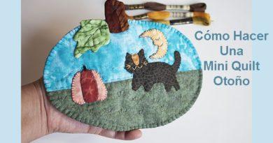 mini quilt de otono con gato calabaza y luna