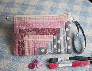 tutorial para hacer cosmetiquera patchwork log cabin