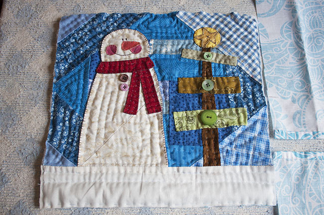 Tutorial Mini Quilt Muneco De Nieve